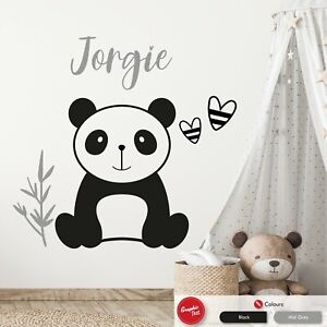 Panda Bear Girls Personalised Wall Art Sticker Kids Nursery Vinyl Bedroom Decal