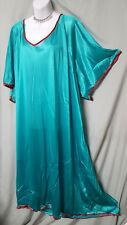 "COMFORT CHOICE Green w/Red Trim Nightgown Long Sexy Comfy Size 5X. 76"" BUST"