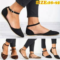 Ladies Ankle Strap Ballerina Womens Flats Court Pumps Summer Comfy Shoes Size