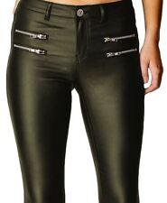 e21703dece2 Womens PU High Pants Fit Shiny Jeans Slim Stretch LOOK Wet Waisted Trousers  Khaki - 2087bs