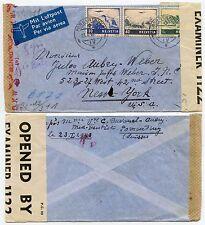 BERMUDA CENSOR 1943 + THIRD REICH CENSOR SWITZERLAND to USA AIRMAIL FRANKING