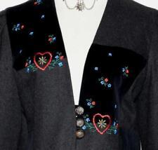 BLACK ~ WOOL & VELVET German Women HEARTS & FLOWERS Dress Suit Pants JACKET 10 M