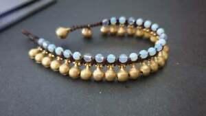 Bohemian Jingling Moonstone Stone Brass  Bell  Bracelet Anklet