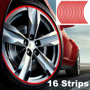 "16Pcs Strip Wheel Sticker Decals 18"" Reflective Rim Tape for Bike Motorcycle Car"
