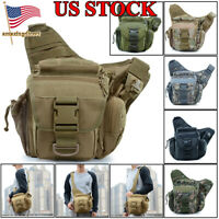 Mens Tactical Military Crossbody Shoulder Bag Chest Pack Saddle Hiking Backpack