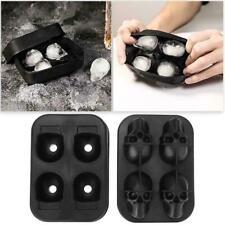 Ice Cube Chocolate Maker Mold Trays 4-Cavity 3D Skull Shape Silicone Party X5E7