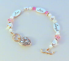 Expressively Yours Saying Live Love Laugh Bracelet Silver Toned Pink Pearl Heart