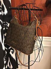 NWT MICHAEL KORS SIGNATURE PVC ANITA LARGE CONVERTIBLE  SHOULDER BAG IN BROWN
