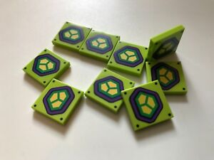 10 genuine Lego part - 2x2 printed tile from LEX LUTHOR SYMBOL 10724 lime green