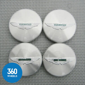 4 x NEW GENUINE ASTON MARTIN POLISHED SILVER GREEN CENTRE CAPS HUB 6G33-1A096-AB