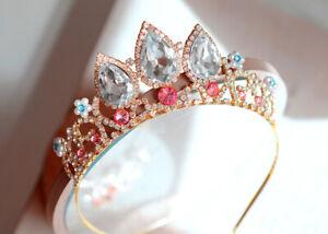 Girls Princess Tangled Rapunzel Crystal Rhinestone Cosplay Tiara Crown with Comb