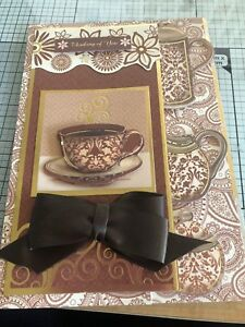 THINKING OF YOU, HANDMADE GOLD EMBOSSED ALL ABOUT THE COFFEE CARD
