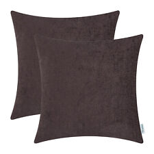 2Pcs Coffee Cushion Covers Pillows Shells Solid Dyed Chenille Sofa Home 16x16 in