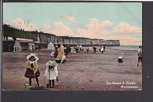 Kent - Margate Westbrook Sands & Cliffs 1909 Postcard - W.R. Saxon ser