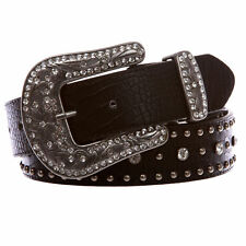 Women's Western Crocodile Print Cross Concho Rhinestone Studded Leather Belt