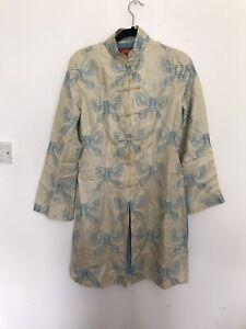 SHANGHAI TANG Cream Blue Butterfly Silk Coat Jacket Size US 10 UK 14 Oriental
