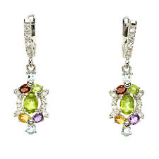 GENUINE AMETHYST,GARNET,PERIDOT,CITRINE,TOPAZ &CZ 14K ON 925 SILVER DROP EARRING