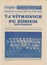 Orig.PRG   IFC - Intertoto Cup 1986   TJ VITKOVICE - FC ZÜRICH  !!  SELTEN