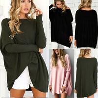 Women Long Sleeve Loose Oversized Sweater Jumper Pullover Outwear Top Mini Dress