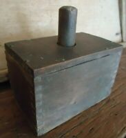 Old Primitive Antique Wooden Rectangular Butter Mold Finger Joint Corners Patina
