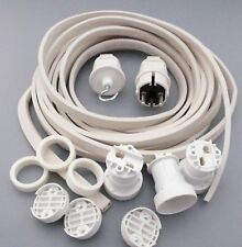 IKu ® Illu Lichterkette E 27  Bausatz 10 Meter 10 Fassungen weisses Kabel