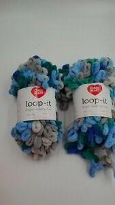 2 Skeins Red Heart Loop-It Yarn  Finger Looping Fun  Blue & Green with Envy