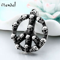 MENDEL Mens 316L Stainless Steel Hippie Biker Peace Sign Skull Pendant Necklace