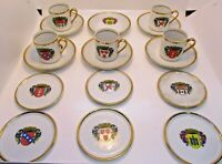 Szakmary Ars Bohemia 17 Piece Cup and Saucer Set Demitasse Coat of Arms Vintage