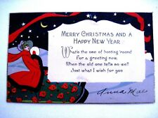 Vintage Art Deco Christmas Card w/ Woman At Night Holding a White Muff  *