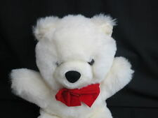 ADORABLE CUDDLE TEDDY BEAR WHITE RED BOW SOFT PLUSH STUFFED LOVEY ANIMAL 12""