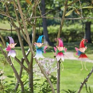 New Pack of 4 Hanging Metal Baby Pixies on a Spring - Fairy Garden Pixies