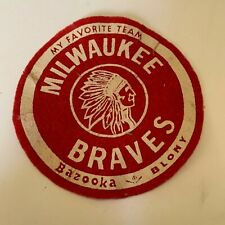 Vintage My Favorite Team Milwaukee Braves Bazooka Blony Bubble Gum Felt Patch