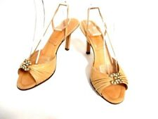 Auth CHANEL Beige Leather Fake Pearl Sandals w/ Box