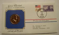 Bronze Cleveland Presidential Medal Gold Plated in Stamped Cover 1983