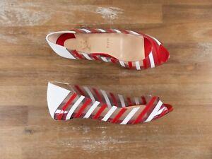 $895 CHRISTIAN LOUBOUTIN A6 flat patent leather and PVC peep shoes 7 US / 37 EU