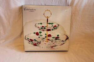 """New In Box Mikasa Celebrations Rose Garden Two Tiered Crystal Server 13"""""""