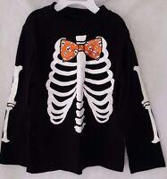 Halloween Boys Girls Black Orange White Skeleton Design Shirt Top Size 5T