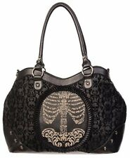 BANNED APPAREL FLOCKED CAMEO LADY ROSE SKULL SKELETON BLACK BAG PURSE HANDBAG