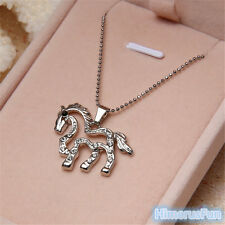 Fashion Silver Plated Necklace Rhinestone Running Horse Charm Pendant Chain