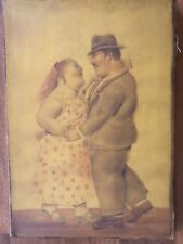 FERNANDO BOTERO Reproduction Painting on Canvas of Dancing Couple 15.75 x 11.25