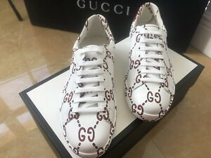 NWT GUCCI APOLLO ACE LOW GG MONOGRAM MEN'S SNEAKERS WHITE LEATHER SIZE G 8 /US 9