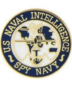 """U.S.N  Naval Intelligence Spy Navy hat lapel tie military pin 1"""""""
