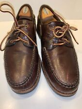 Men's Allen Edmunds Pueblo Boat Shoes Brown Leather US size 11.5 D Lace Up Rare