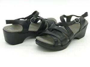 Women's Dansko Black Strappy Leather Sandals  U.S. Size 12.5 - 13 Euro 43 EUC