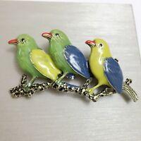 Broche Doré Branche Trois Oiseau Email Vert Bleu Jaune Multicolore Class XZ6