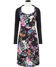 Gorgeous Joe Brown's Tropical Black Floral Party Occasion Dress /Shrug UK 18 NWT