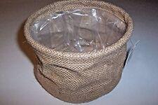 Natural Burlap Plastic Lined Planters, (3) Grow Bags, Pot, Baskets Storage Plant