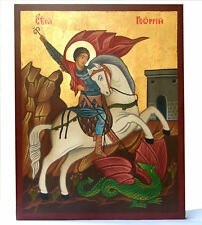 ST. GEORGE  BULGARIAN ORTHODOX ICON HANDPAINTED