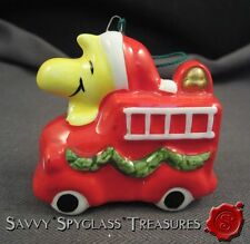 Vintage Ceramic Peanuts Woodstock Fire Engine Christmas Ornament