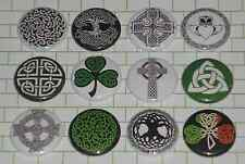 "IRISH CELTIC (12 Button Set) 1"" Inch Pins CROSSES CLADDAGH TRINITY St. Patricks"